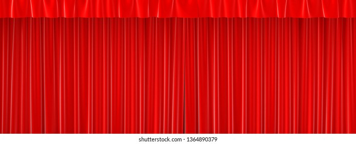 Red closed curtain with beautiful folds. 3d rendering.