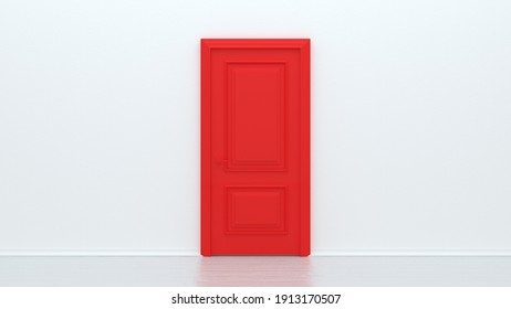 Red closed door on white background. Frame on white Wall in the Empty Room. Interior Design Element. Design Template for Graphics. 3d render