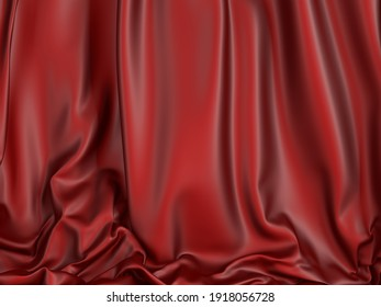 red cloth background. Satin luxury fabric texture. 3d render illustration