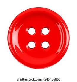 Red cloth button, 3d