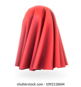 Red cloth cover sphere. 3d rendering on white background. Silk, satin fabric with pleats.