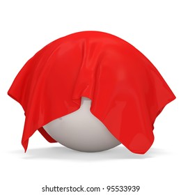 Red Cloth Covered White Ball on white background