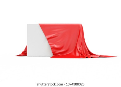 Red Cloth Fabric Covered Blank Board isolated on white background. 3D rendering