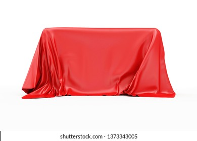 Red Cloth Fabric Covered Board isolated on white background. 3D rendering
