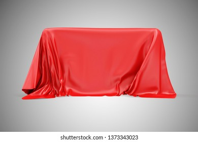 Red Cloth Fabric Covered Board on gradient background. 3D rendering