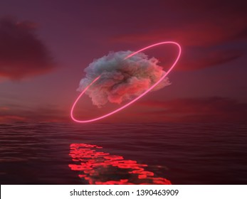 red cloud over water, 3d illustration