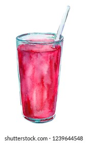 Red cocktail in a glass isolated on a white background. Watercolor