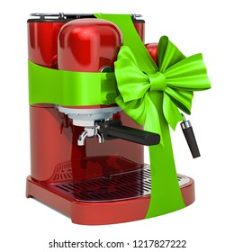 Red coffeemaker with green ribbon and bow. 3D rendering isolated on white background
