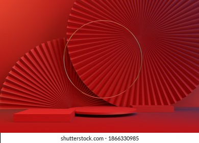 The red color 3D rendering background