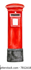 Red color British Post Pillar Box with aperture for stamped mail. Single object, standing, classic vertical design. Without writing. Hand drawn watercolour illustration, isolated on white background.