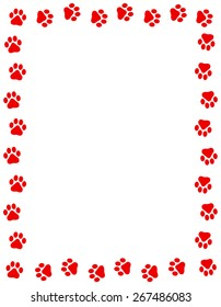 Red color dog paw prints frame / border n white background