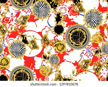 red color ground, golden baroque shapes, and seamless zebra pattern.