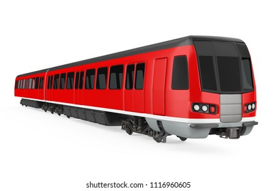 Red Commuter Train Isolated. 3D rendering