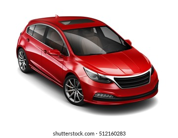 Red  compact car - 3D render on white