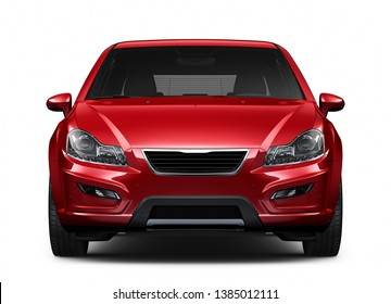 Red compact car - front view closeup shot - 3D Illustration