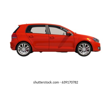 Red Compact Car Isolated on White, Close-up, Side View ,Shallow Depth of Field, Selective Focus, Automobile in Studio, Automobile Industry, 3d Car,  Auto Transport, Automotive Background, City Vehicle