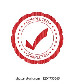 Red Completed grunge Stamp on white background,Thai design.Vector