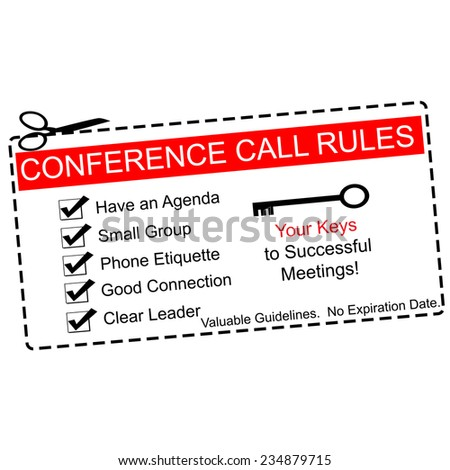 Red Conference Call Rules Coupon Great Stock Illustration 234879715