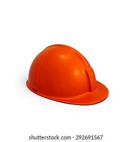Red constructing safety casque 3D rendered isolated on white background (side view)