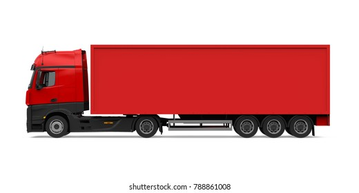 Red Container Truck Isolated (side view). 3D rendering