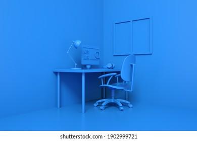 Red Contemporary Home Office Arbeitsplatzkonzept mit Laptop-Mockup und anderen Objekten. Graph auf dem Computerbildschirm, Informationssuche. 3D-Rendering. Arbeiten Sie von zu Hause Konzept. Minimales Ideenkonzept.
