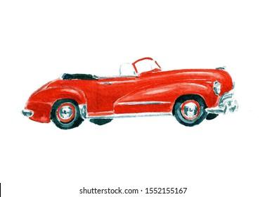 Red convertible. Retro watercolor car. The fiftieth.