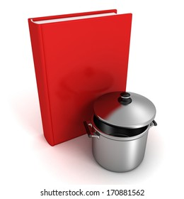 red cookbook and metallic pot pan with cover
