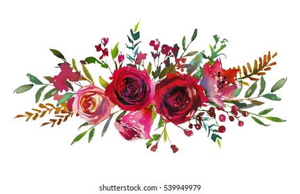 Red and coral roses leaves branches hand painted watercolor landscape bouquet isolated on white background.