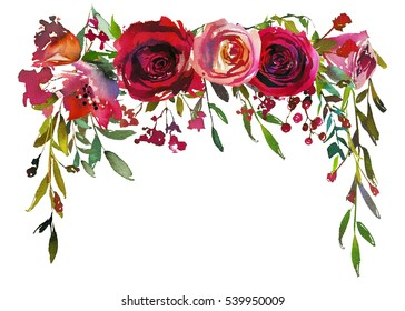 Red and coral roses leaves hand painted watercolor lbackdrop isolated on white background.