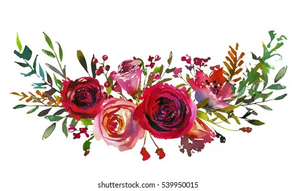 Red and coral roses leaves hand painted watercolor landscape bouquet isolated on white background.