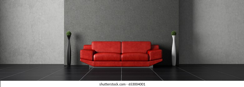 Red couch in front of concrete wall with 2 plants standing aside 3d rendering