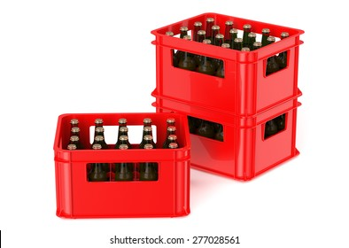 red crate full with beer bottles isolated on white background