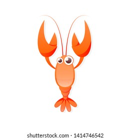 Red crayfish icon. Clipart image isolated on white background