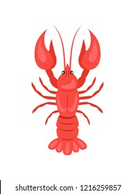 Red crayfish raster illustration isolated on white background. Crawfish or crawdads, freshwater lobster, mudbugs or yabbies seafood in flat design