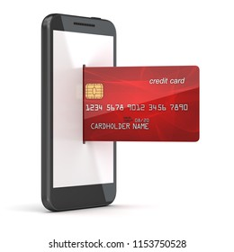 Red credit card in to phone , 3d render and computer generated image.