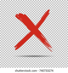 An red cross, x, on transparent background