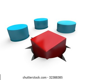 A red cube is a poor fit in a round hole