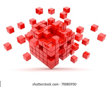 Red cubes 3D. Isolated on white background