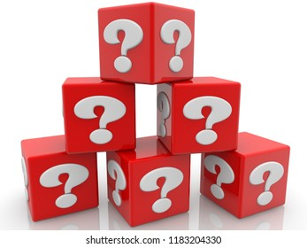 Red cubes piled into the pyramid with question mark concept.3d illustration