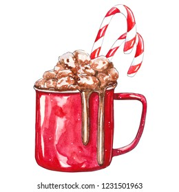 Red Cup of cocoa with marshmallows. Watercolor hand drawn illustration, isolated on white background. Perfect for celebration card, invitation, design