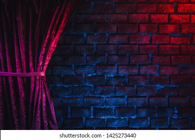 Red curtain against a brick wall with red and blue lighting, high contrast image / 3D render, illustration