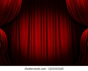 Red Curtain, Cinema Fee, Theater Stage - 3D Rendering