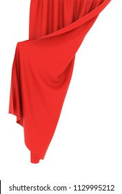 Red curtain half-opened with white background. 3D rendering.