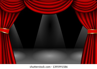 red curtain on black background and spotlights