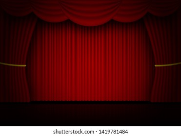 Red curtain opera, cinema or theater stage drapes. Spotlight on closed velvet curtains background
