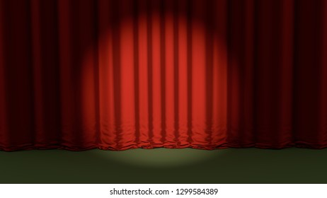 red curtain theater background special show event 3D illustration