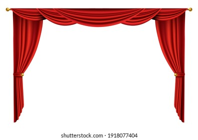 Red curtains realistic. Theater fabric silk decoration for movie cinema or opera hall. Curtains and draperies interior decoration object. Isolated on white for theater stage