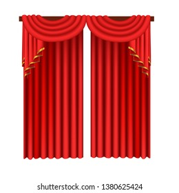 red curtains ,white background ,realism style