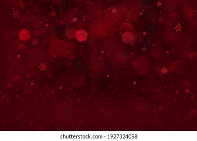 red cute bright abstract background glitter lights and falling snow flakes fly defocused bokeh - festival mockup texture with blank space for your content