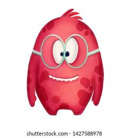 Red cute cartoon funny monster on the white background